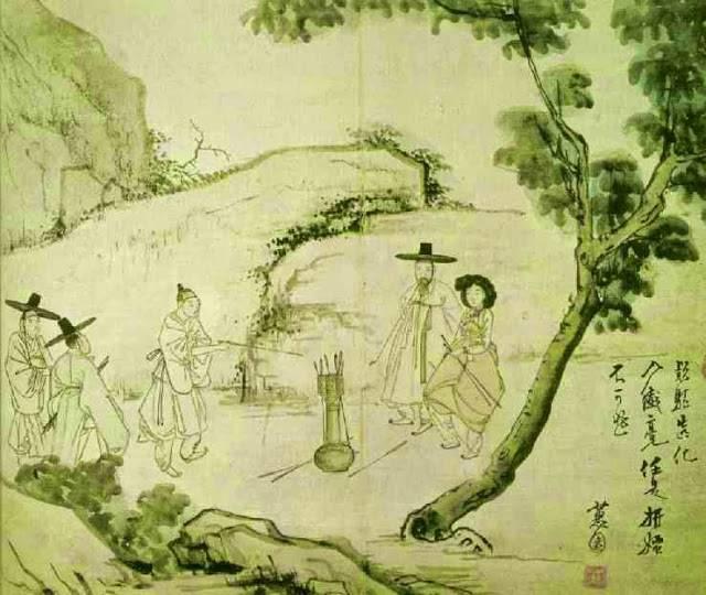 신윤복의 '임하투호(林下投壺)'